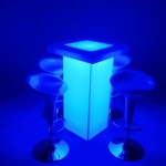 30. Glow Hi-Boy with Counter Top + Bar Stools