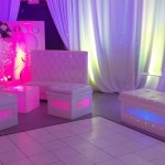 24. Lounge Furniture Setup with Candelabra + White Dance Floor