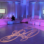 46. White Vinyl Dance floor + Uplighting  + Gobo Lighting