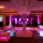 White Dance Floor + Glow Lounge Furniture + DJ Setup