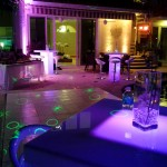 White Vinyl Dance Floor+High boys with Countertop+Bar Stools+Uplighting