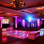 Intelligent Lighting , White Vinyl Dance Floor-+-Glow Towers