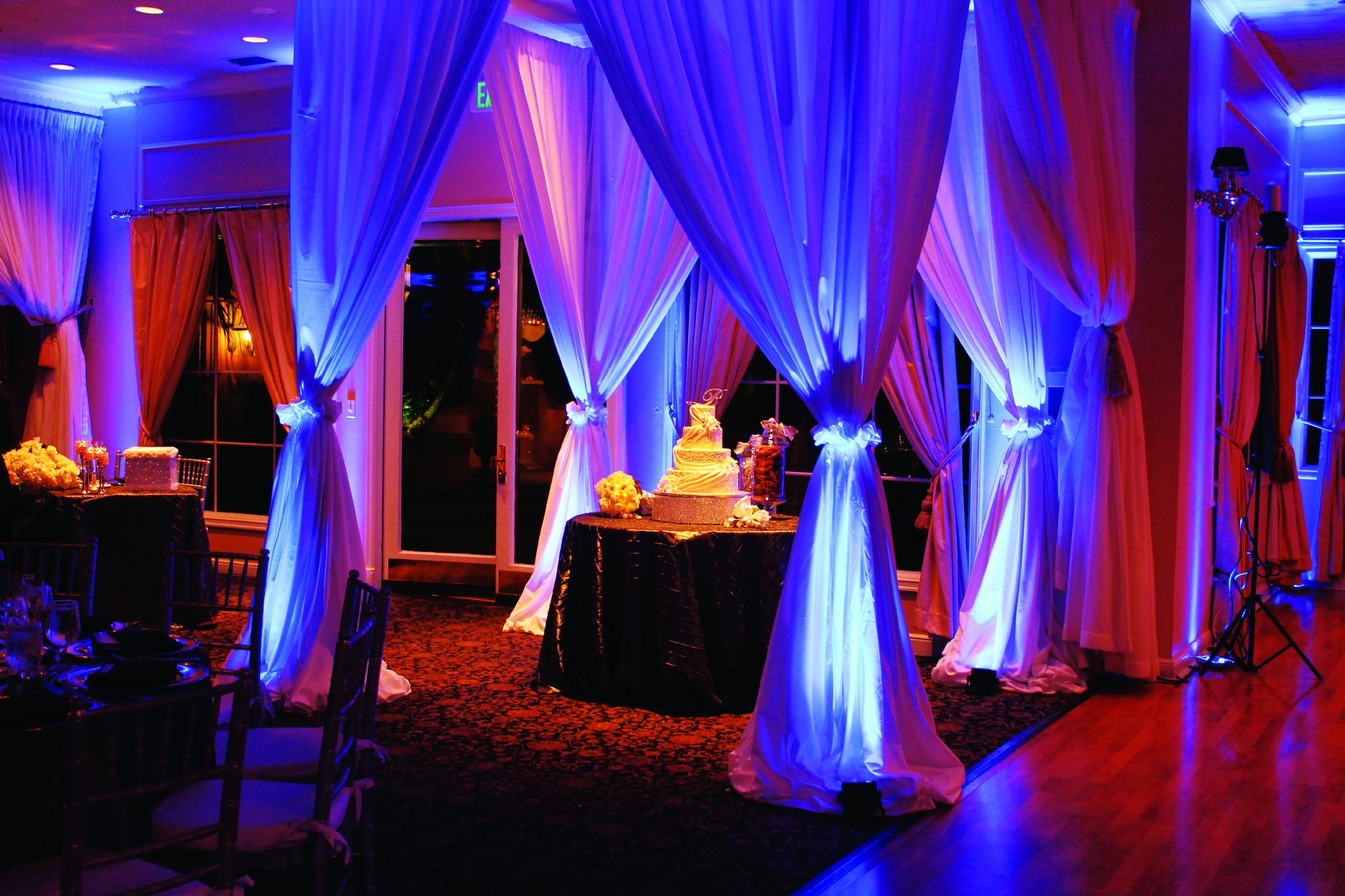 pink on white events lighting design orlando to projection portfolio uplighitng bench hang how floor orlandos drapes gobo dance moon ceiling exclusive drape round blush s for
