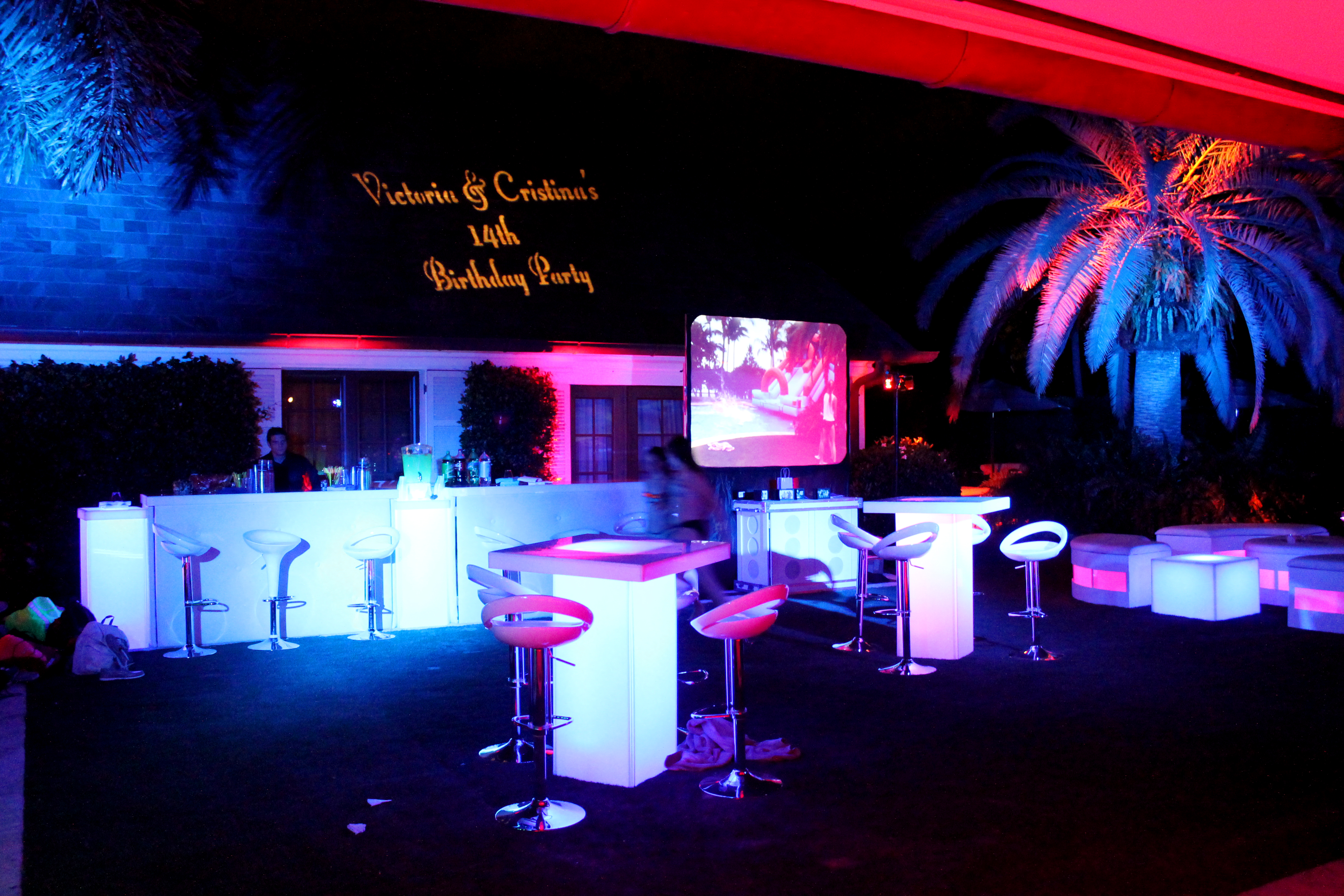 Highboys with Countertop uplights Projector Screen & Event Lighting Miami Fort Lauderdale South Florida | Solaris Mood